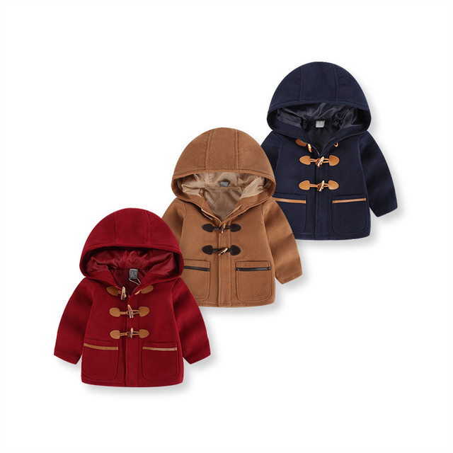 Boys Autumn Spring Winter Thick Coat Fashion England Style Ask Hooded Casual Children Jacket