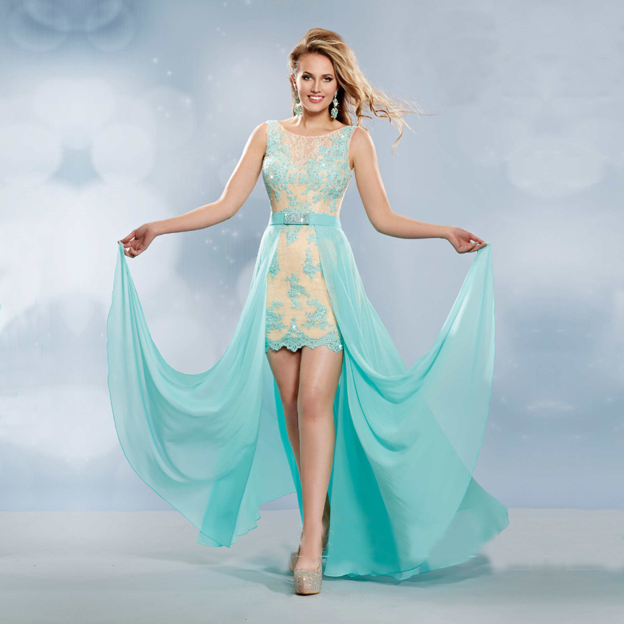vestido de festa Cheap Sexy Aqua Chiffon Long Prom Dress 2016 ...