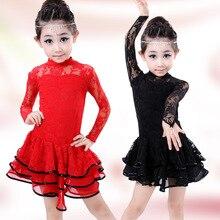 10pcs/lot Free Shipping Red Black Long Sleeves Children Girls Latin Dance Dress Lace Kids Salsa Ballroom Dance Costumes Clothes