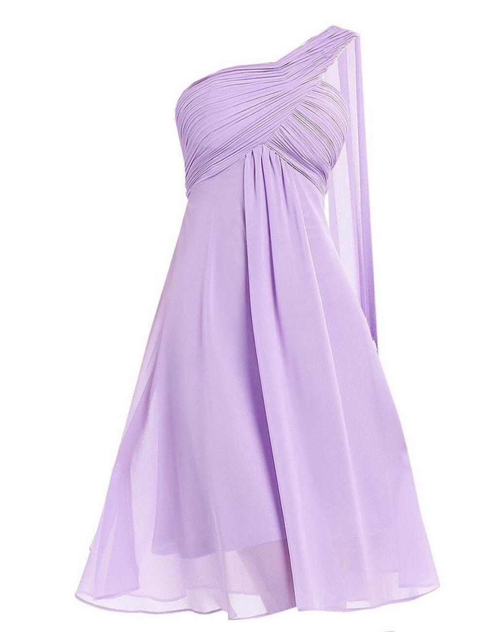 2016 Einfachen Stil Kurze One-shoulder Plissee Mini A-linie Brautjungfernkleider Zip Zurück Weg Von Der Schulter Party Kleider