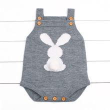 Вязаный шерстяной комбинезон с кроликом для новорожденных мальчиков и девочек; комбинезон; Детские Сарафаны с кроликом