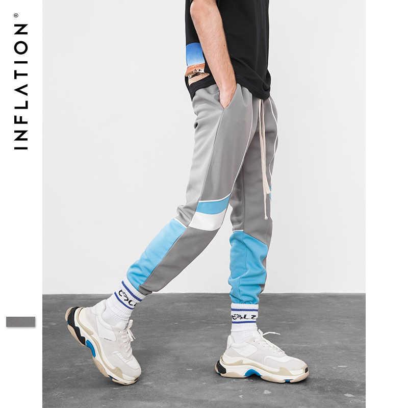 Şişirme için 2018 yeni koleksiyon sonbahar Jogger Sweatpants Patchwork Hip hop Streetwear günlük pantolon erkekler kadınlar için 8850W