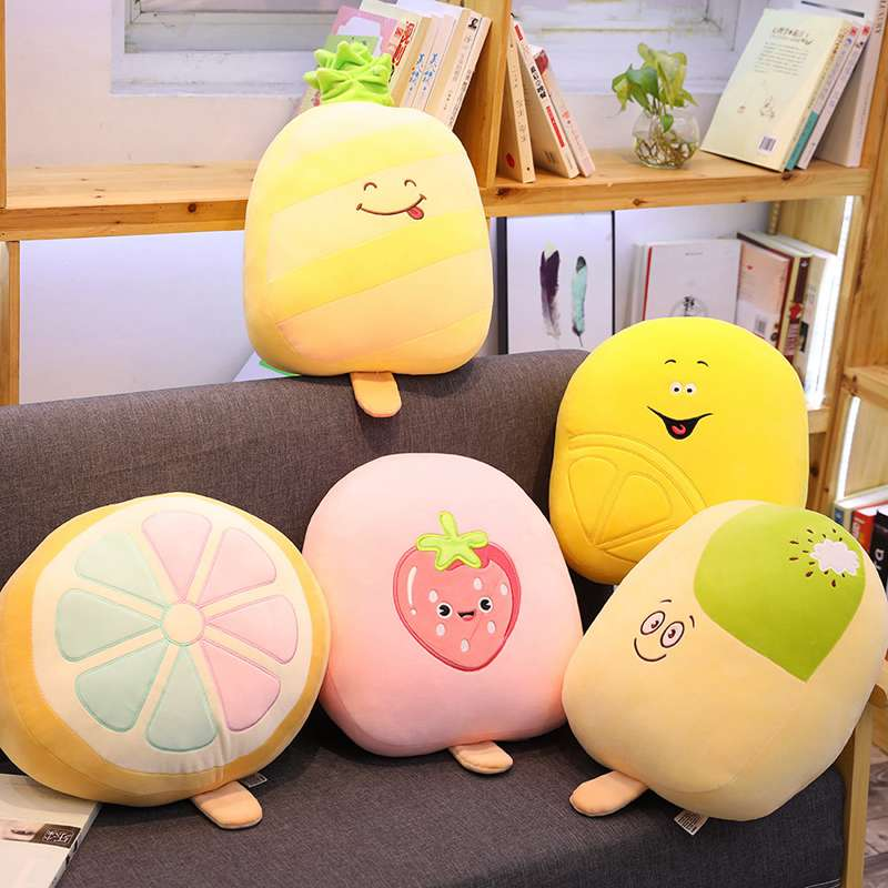 Plush Pillows Special Section 1pc 40x30x10cm 5 Patterns Real Life Fruit Popsicle Dolls Fruit Series Strawberry Pineapple Cushion Home Sofa Decorative Backrest Attractive Fashion