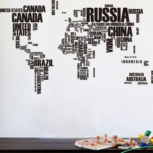 Map Of The World Decal.New Qualified English Letters Map Of The World Decal Art Mural Home