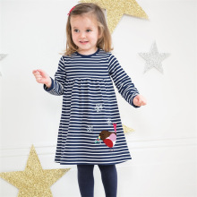 stripe princess girl dresses children autumn spring fashion cotton embroidery baby clothes for clothing