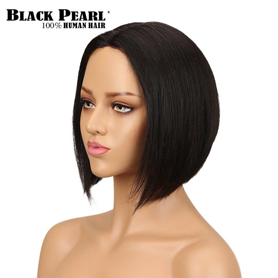 Black Pearl Peruvian Straight Lace Human Hair Wigs For Women Remy Hair Natural Color Short Human Hair Wig Bob Wig