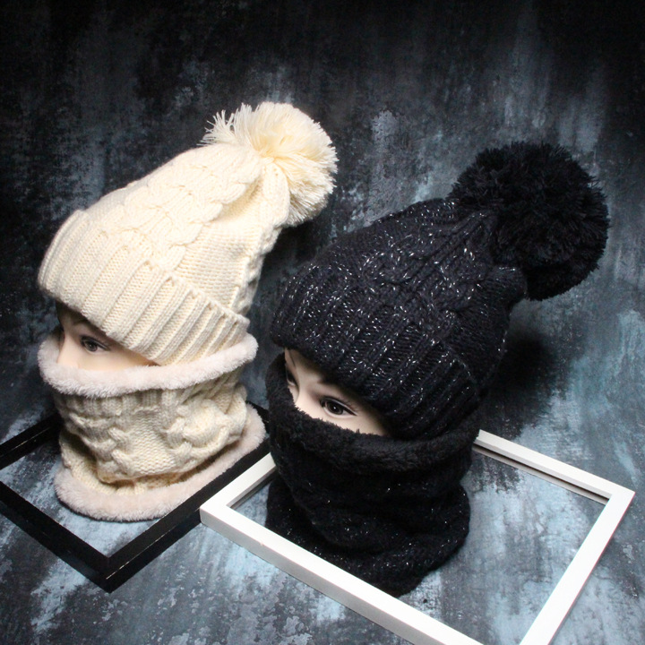Women Winter Warm Beanies Hats Thick Warm Fleece Inside Head Face Ears Protect Thick Knitted Hat Female Caps