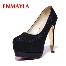 ENMAYLA Pointed Toe Casual Thin Heels Platform Slip-On High Heels Shoes Woman Calzado Mujer Size34-39 ZYL2116