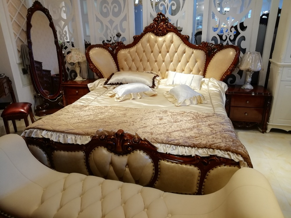 high quality modern luxury wooden beds furniture sets design french carving leather bed king size bed
