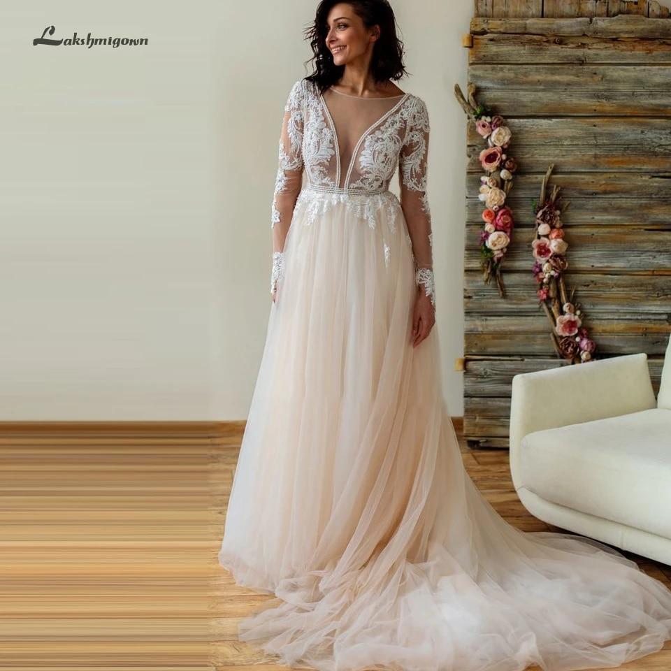 Light Champagne Plus Size Wedding Dresses Long Sleeves 18 Boho Style  Vintage Mariage Bridal Lace Beach Wedding Dress Open Back