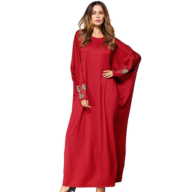 Muslim Abaya Bat Sleeve Embroidery Maxi Dress Loose Style Kimono Long Robe Gowns Jubah Ramadan Middle East Arab Islamic Clothing