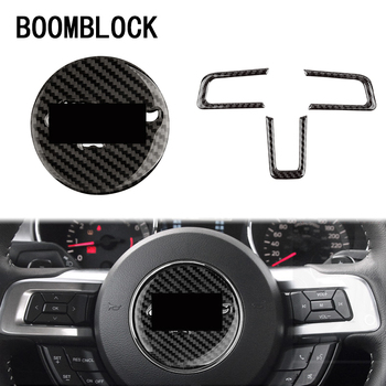BOOMBLOCK 3pcs/set Car Covers Carbon Fiber Trim For Ford Mustang 2015 2016 2017 GT500 GT 350 Steering Wheel Emblem фото
