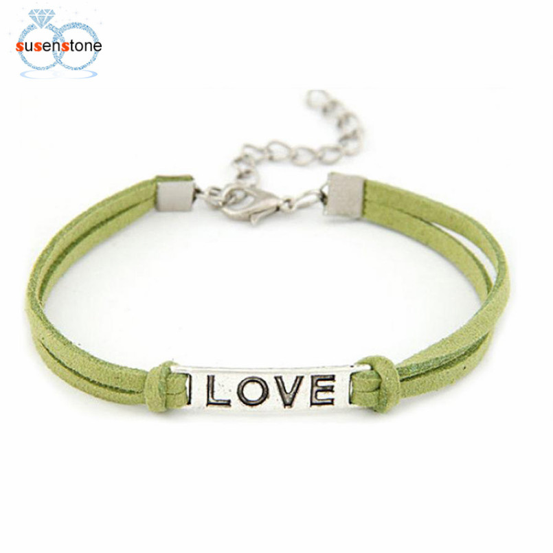 SUSENSTONE Braided Adjustable Leather Popular Bracelet Women Men Love Handmade Alloy Rope Charm Jewelry Weave Bracelet Gift #0 1