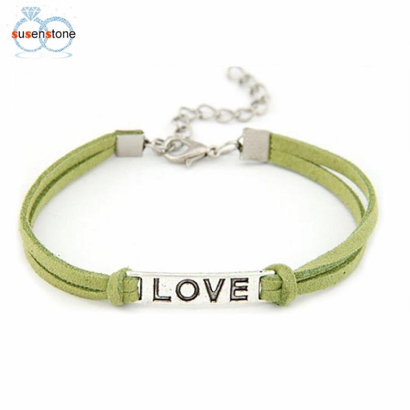 SUSENSTONE Braided Adjustable Leather Popular Bracelet Women Men Love Handmade Alloy Rope Charm Jewelry Weave Bracelet Gift #0 1
