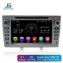 JDASTON Android 9,1 автомобильный dvd-плеер для peugeot 308 408 стерео рулевое колесо gps навигация Мультимедиа Стерео 2 Din автомобильное радио