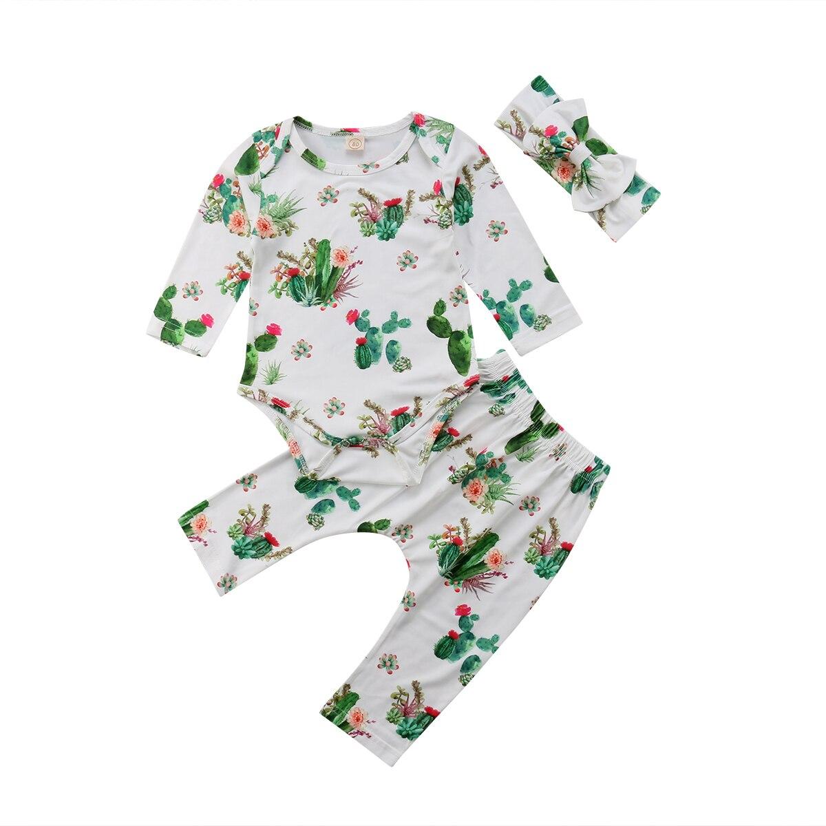 2018 Newborn Infant kids Baby Girl Boy Cactus Print Clothing Set Long Sleeves Romper Bodysuit + Pants+Headband 3pcs Outfits