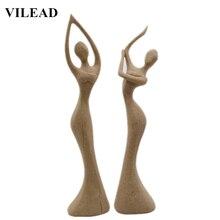VILEAD Woman Dancer Figurines Sandstone Statuettes for Home Decoration Accessories Vintage Decor Creative Gifts
