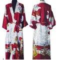 Nova Moda Borgonha Silk Rayon Robe Vestido Kimono Vestido Do Vintage das Mulheres Salão de verão Sleepwear Tamanho S M L XL XXL XXXL NS0017