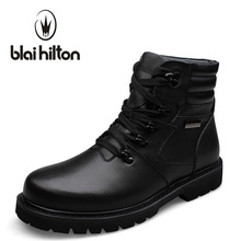 Blaibilton Brand 100% Genuine Leather Winter Warm Velvet Snow Boots Men Shoes Cow Patchwork Military Motocycle Boot Male SDQ911