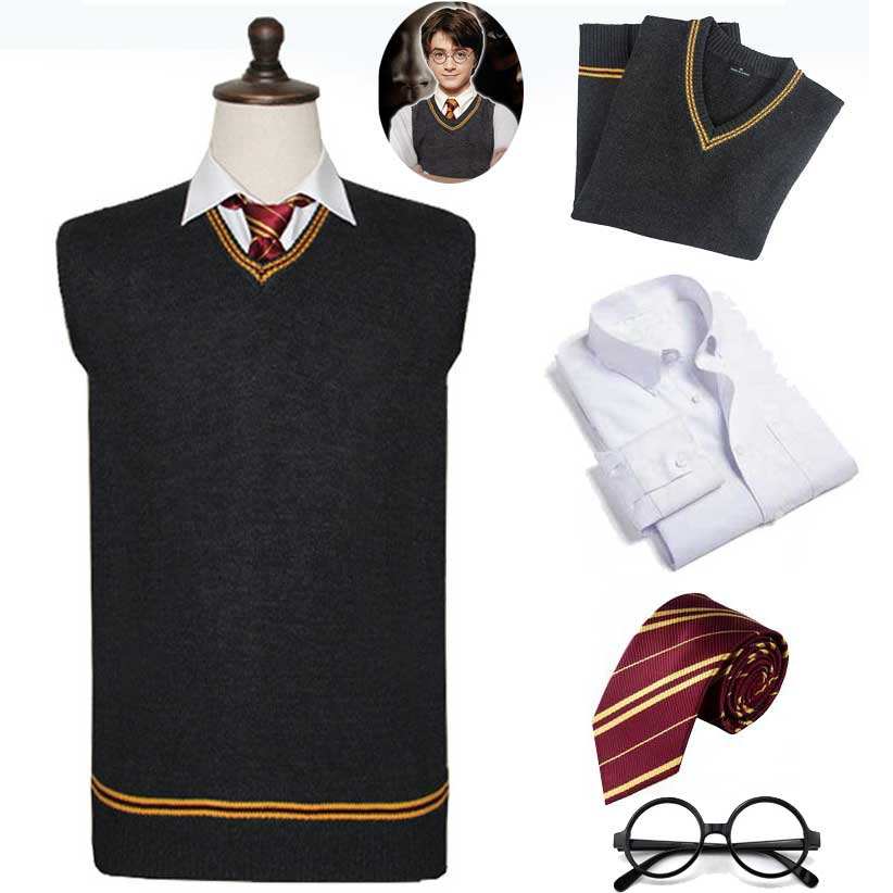 Gryffindor Slytherin Hufflepuff Ravenclaw Sweater V Neck Sweater And Tie Shirt Waistcoat Black For Harri Potter Cosplay