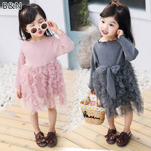 2-5Y Children's Cotton+Tulle Patchwork Dress Baby Girls Princess Solid Color Gauze Cake Dresses Kids Fashion Party Clothings