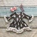 Meninas boutique de roupas de bebê crianças outono inverno meninas vestido de renda longo flare vestido de manga crianças vestido de urso com acessórios