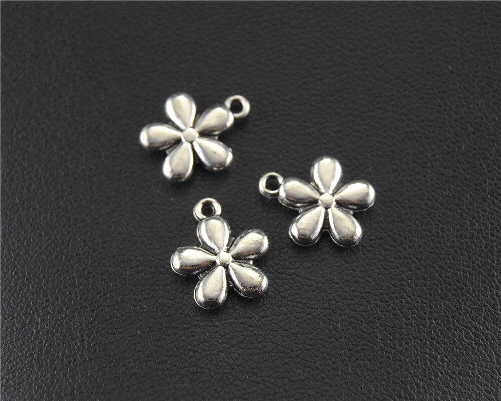 50pcs Silver Color Mini 5 leaf flower Charm DIY Necklace Bracelet Bangle Findings 11x8mm A1476