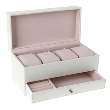 NEW-4 Compartment Watch Storage Box Drawer Jewelry Storage Display Leather Square Jewelry Box, White цена