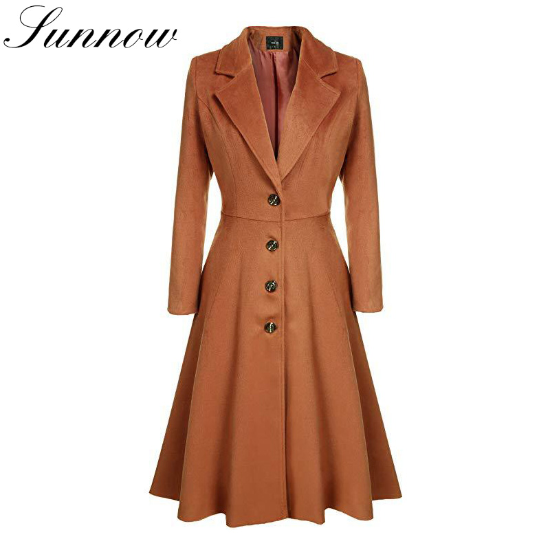 SUNNOW 2019 Wool Coat Women Outwear Plus Size Fashion Casual   Trench   Lady Long Elegant Windbreaker Single Breasted Street Coat