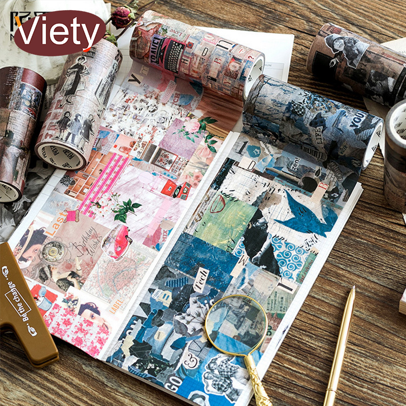 10cm*5m Vintage painting Collage girls washi tape DIY decoration scrapbooking planner masking tape adhesive tape 3pcs box ancient chinese famous painting calligraphy peotry retro wooden box decoration washi diy planner scrapbook masking tape
