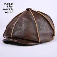 Leather Hat Autumn and winter Leather peaked cap Casual men Fashion cap hat Thermal octagonal hat