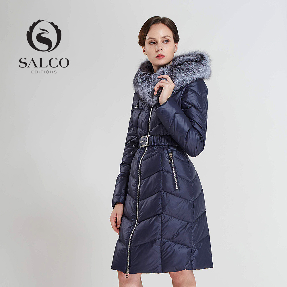 SALCO Free shipping In 2016 the new lady warm winter silver fox collars dichromatic long hooded down jacket coat