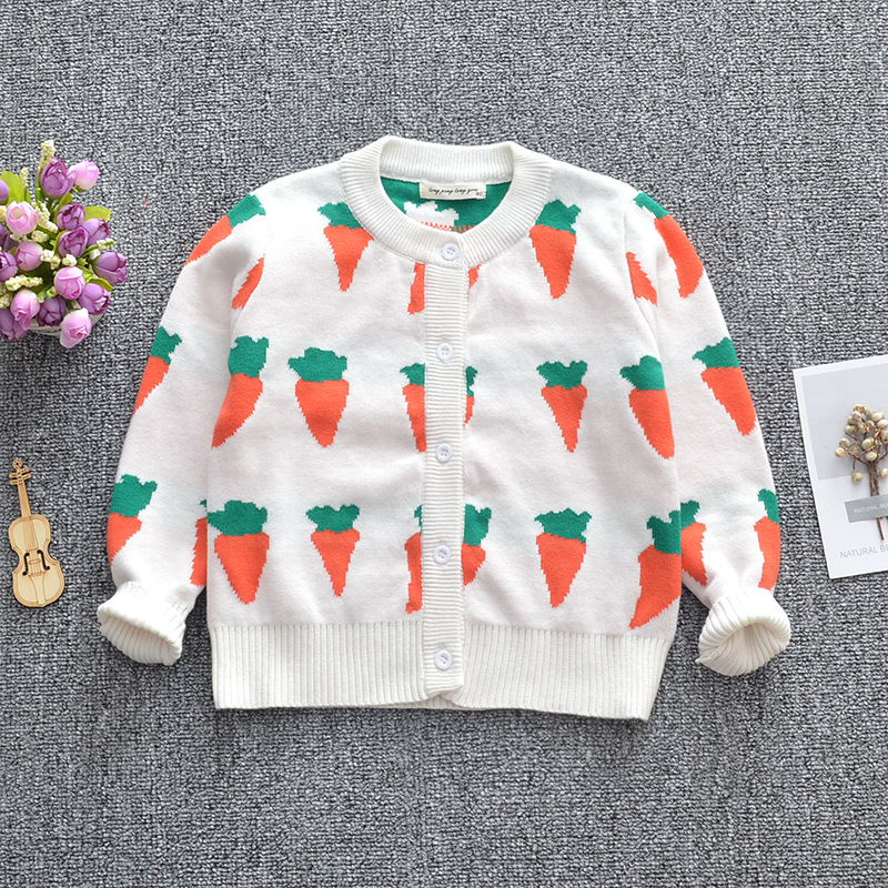 ins carrot pattern girl cardigan kids sweaters children baby knit coat 1-6T
