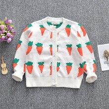 ins carrot pattern girl cardigan kids sweaters children baby knit coat 1-6T