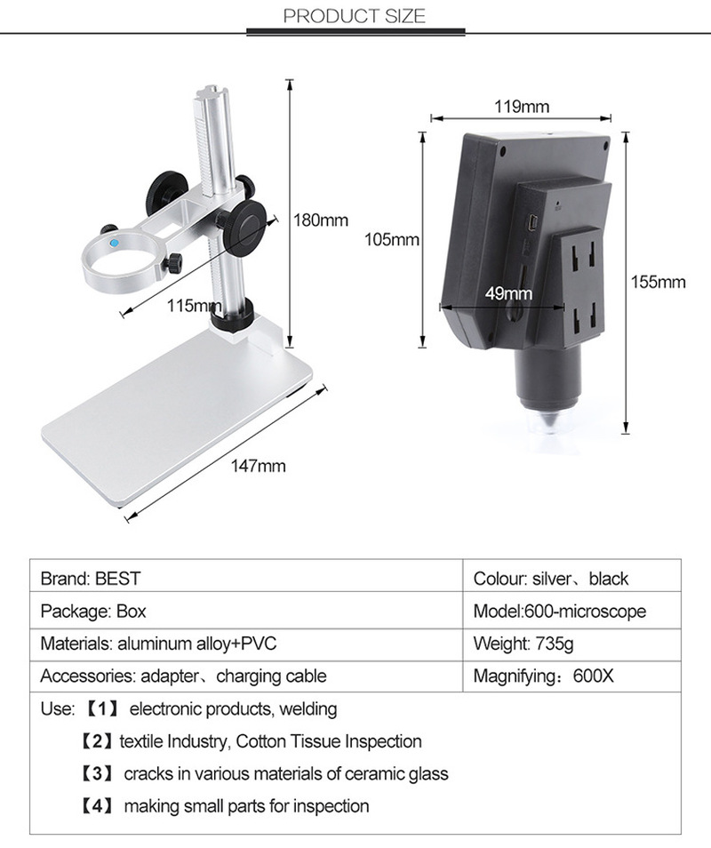 BST-600 Portable HD Electron Microscope LCD Digital Repair Magnifying Glass 600 Times Aluminum Alloy Stent Microscope
