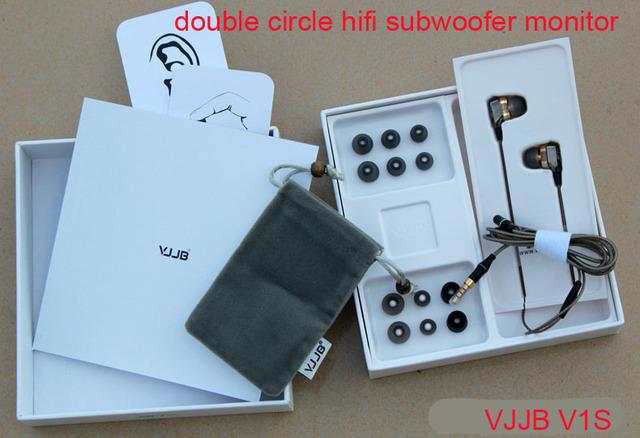 Vjjb v1 v1s estéreo del oído interno de alta fidelidad profesional juego de monitor de auriculares de alta fidelidad con micrófono doble círculo subwoofer (con el paquete