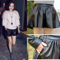 Women PU Leather Shorts 2015 Autumn And Winter Slim all-match Pants Faux Leather Wide Leg Pants Women Black elastic Short Pant