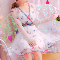 Princess Sweet Lolita Dress Korean Style Embroidery Flower National Wind Horn Sleeves Waved Waist Lace Long