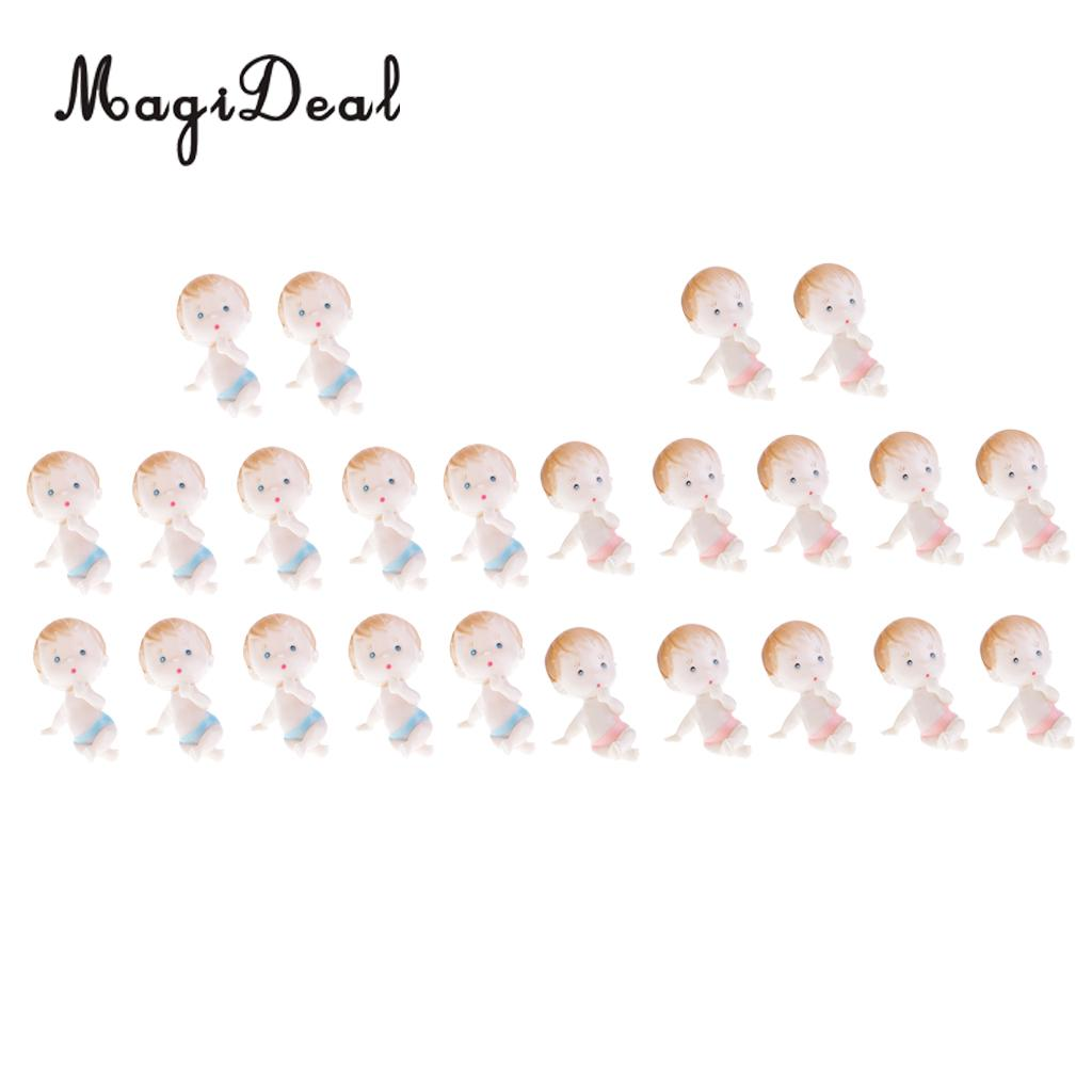 MagiDeal 12 Pieces Mini Baby Figures Doll Baby Shower Christening Party MY Water Broke Game Pink/Blue