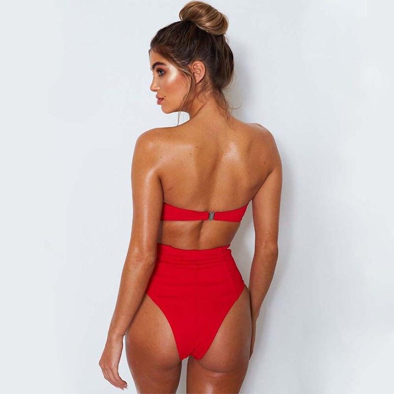 d117ec5824cc8 Купить Женский купальник 2018 сексуальный с высокой талией бикини пуш ап  купальники Черный Белый бикини набор летняя пляжная одежда Biquini  купальный к.