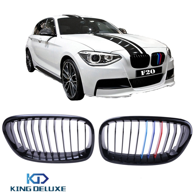2x Gloss Black M Colored Front Grilles Kidney Grill Lattice For BMW F20 F21 114i 116i 118i M135i 2010-2014 Car Styling #P184 gloss black front dual line grille grill for bmw f20 f21 1 series 118i 2010 2011 2012 2013 2014