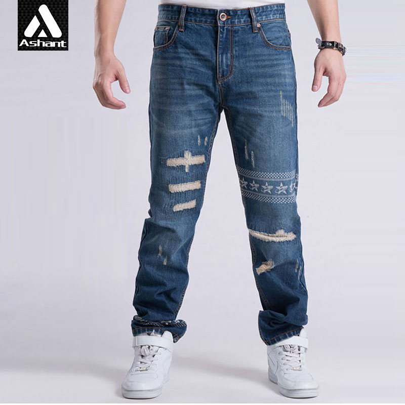 ФОТО Men Scratched Hole Jeans Male Ripped Designe Clothes Hiphop Plus Size 38 40 42 44 46 Jean Pant Man Denim Trousers ashant