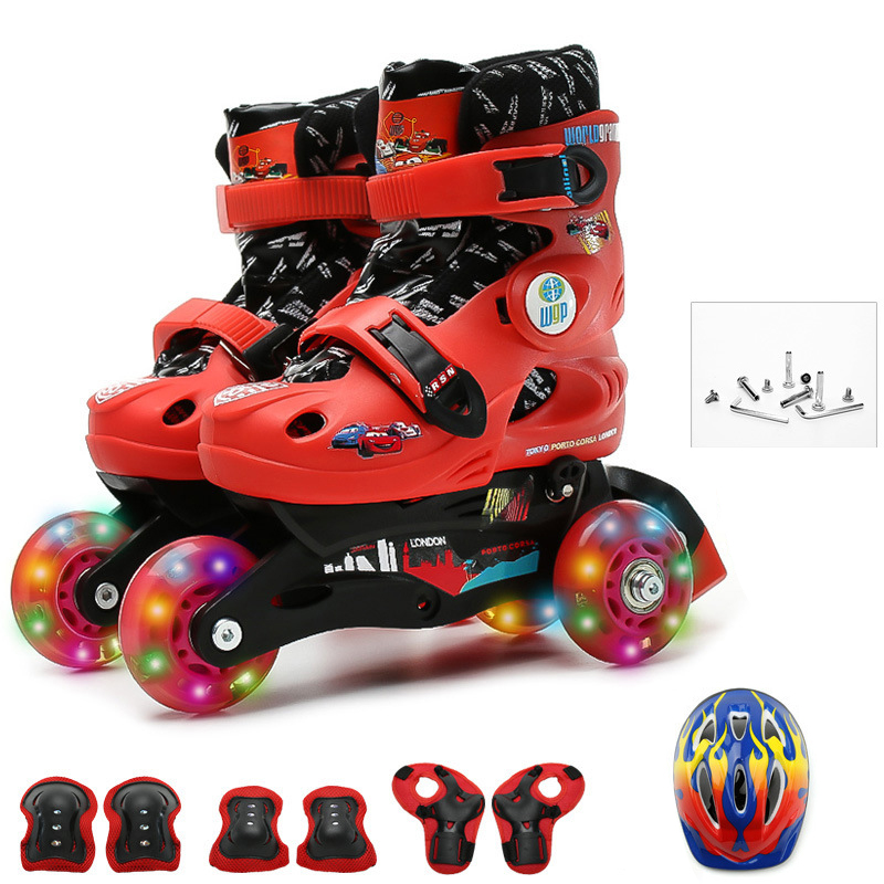 Kids Children Lovely Stable Balance Slalom Parallel Flashing Ice Skate Roller Shoes