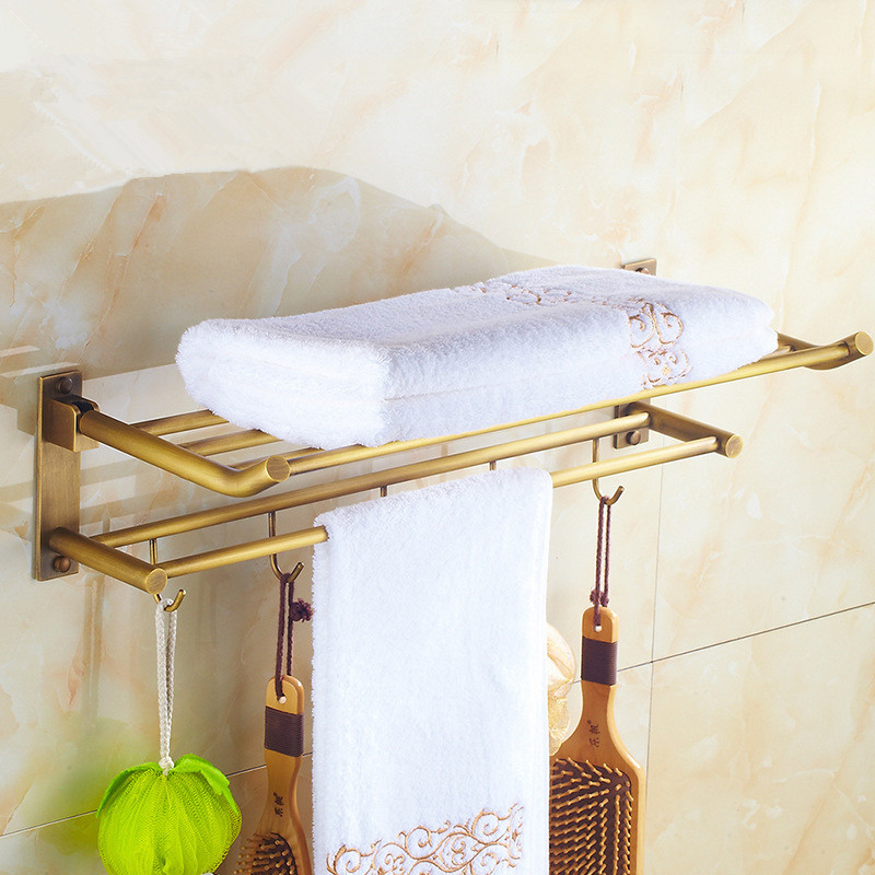 Bathroom Towel Racks Foldable Antique Brass Towel Holder Wall Mounted Nail 60cm Bathroom Decorative Storage Rail Towel Shelf aluminum wall mounted square antique brass bath towel rack active bathroom towel holder double towel shelf bathroom accessories