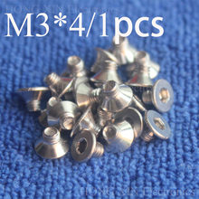 1 יחידות M3 * 4 ראש שטוח נירוסטה SS304 מכונת בורג Countersunk Bolt אטב ראש מפתח אלן hex socket ראש countersunk(China)