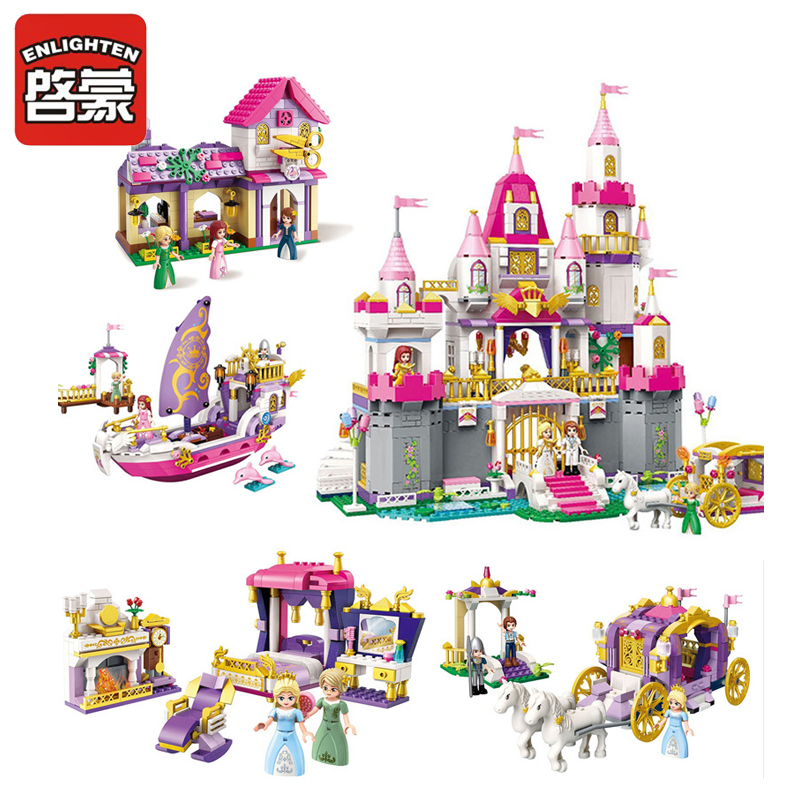 ENLIGHTEN City Girls Princess Violet Royal Carriag Car Building Blocks Sets Bricks Model Kids Toys Compatible Legoings Friends 7 pieces reactive dying baby crib bedding sets wish bumper quilt pillow flat sheet