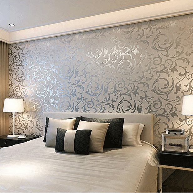 Simple european 3d stereoscopic relief crochet woven for Images of 3d wallpaper for bedroom