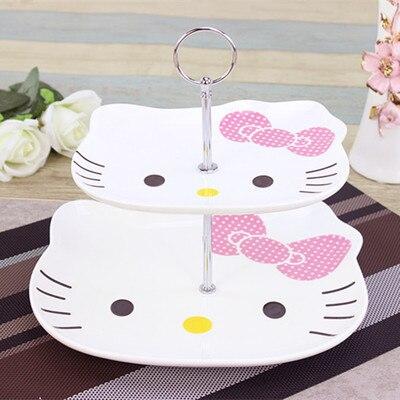 Chat léopard, chat Kitty, plateau de fruits, Double plateau de fruits, assiette à gâteau, thé de l'après-midi, plat de cœur, cadeau créatif de mode