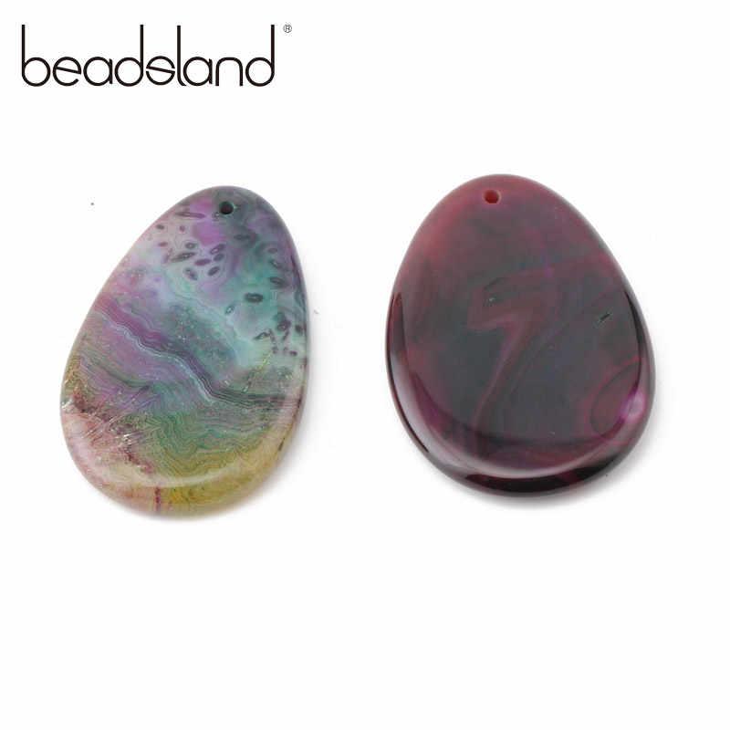 Beadsland gota de agua naturaleza piedra pedante multicolor naturaleza piedra hombre mujeres hacer colgante collar accesorio colgante de moda