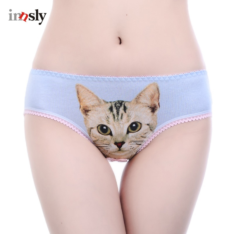 Buy Girl Cat Underwear Women Cat Panties 3D Printing Cotton Briefs Pussy Cat Panties Breathable Intimates Girls Meow Lingerie